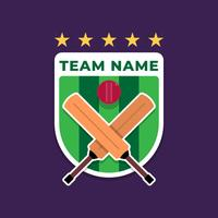 Cricket Shield Badge Logo Do Clube De Esportes vetor