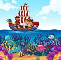 Crianças, ligado, viking, bote, e, cena oceano vetor