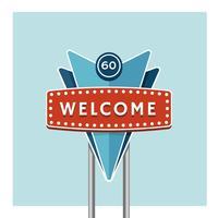 Bem-vindo, saudação, retro, sinal vetor