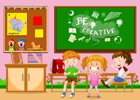 Crianças aprendendo na sala de aula vetor