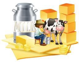 Fazendeiro de leite com queijo vetor