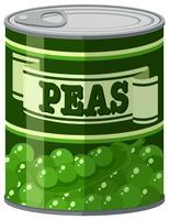 Ervilhas verdes em lata de alumínio vetor