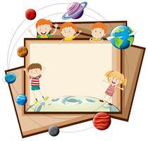 Design de papel com crianças e planetas vetor