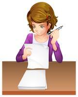 Um, mulher jovem, fazendo exame um vetor
