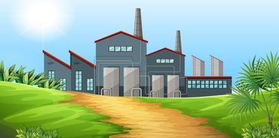 Fábrica de construção no campo vetor