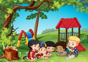Crianças, tocando, parque vetor