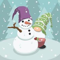 gnomo e boneco de neve bonito dos desenhos animados vetor