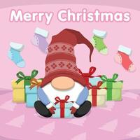 gnomo de natal bonito dos desenhos animados e caixa de presente vetor