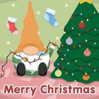 gnomo de natal bonito dos desenhos animados e árvore de natal vetor