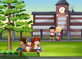 Crianças, sair, escola vetor