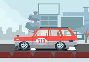 Carro retrô na ilustração vetorial de cidade vetor