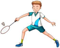 Homem, jogando badminton, com, raquete vetor