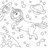 unicórnio astronauta viaja no espaço sideral. página do livro para colorir para crianças. personagem de estilo de desenho animado. ilustração vetorial isolada no fundo branco. vetor