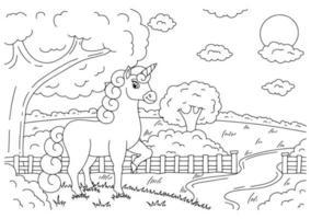 unicórnio de fadas mágico na paisagem. cavalo fofo. página do livro para colorir para crianças. estilo de desenho animado. ilustração vetorial isolada no fundo branco. vetor