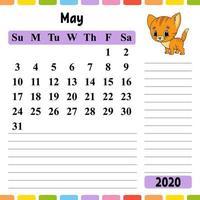 calendário para 2020 com um personagem fofo. design divertido e brilhante. ilustração isolada do vetor. estilo de desenho animado. vetor