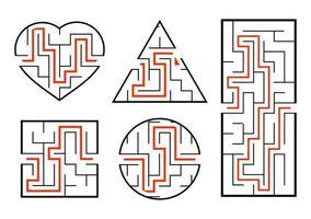 um conjunto de labirintos. jogo para crianças. quebra-cabeça para crianças. enigma do labirinto. encontre o caminho certo. ilustração vetorial. vetor