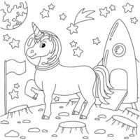 unicórnio astronauta pousou em outro planeta. página do livro para colorir para crianças. personagem de estilo de desenho animado. ilustração vetorial isolada no fundo branco. vetor
