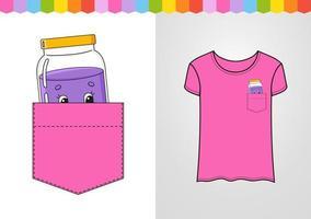 pote de geléia no bolso da camisa. personagem fofinho. ilustração vetorial colorida. estilo de desenho animado. isolado no fundo branco. elemento de design. modelo para suas camisas, livros, adesivos, cartões, pôsteres. vetor