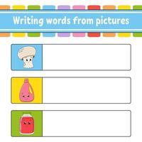 escrever palavras a partir de imagens. planilha de desenvolvimento educacional. jogo de aprendizagem para crianças. página de atividades. quebra-cabeça para crianças. enigma para a pré-escola. ilustração isolada do vetor. estilo de desenho animado. vetor