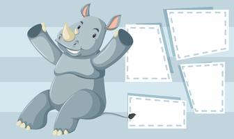 Um rinoceronte no modelo em branco vetor