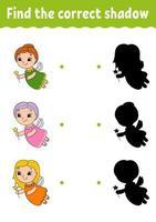 encontre a sombra correta. Desenhe uma linha. planilha de desenvolvimento educacional. jogo para crianças. página de atividades. quebra-cabeça para crianças. enigma para a pré-escola. ilustração isolada do vetor. estilo dos desenhos animados. vetor