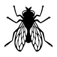 inseto voador. silhueta negra. elemento de design. ilustração vetorial isolada no fundo branco. modelo para repelente. vetor