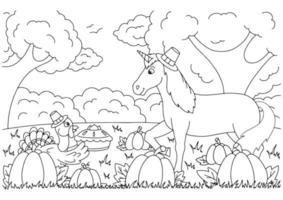 um peru traz torta de abóbora para um unicórnio. página do livro para colorir para crianças. Dia de ação de graças. vetor