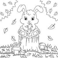 um coelho fofo tem uma cenoura nas patas. página do livro para colorir para crianças. estilo de desenho animado. ilustração vetorial isolada no fundo branco. vetor