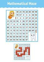 labirinto matemático. jogo para crianças. labirinto engraçado. planilha de desenvolvimento de educação. página de atividades. quebra-cabeça para crianças. estilo de desenho animado. enigma para a pré-escola. ilustração vetorial de cor vetor