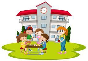 Crianças, tendo almoço, em, escola vetor