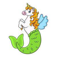 bonito sereia unicórnio. cavalo mágico de fadas. Personagem de desenho animado. ilustração vetorial colorida. isolado no fundo branco. elemento de design. modelo para seu projeto, livros, adesivos, cartões. vetor