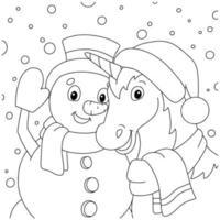um unicórnio mágico e um boneco de neve celebram o ano novo juntos. página do livro para colorir para crianças. personagem de estilo de desenho animado. ilustração vetorial isolada no fundo branco. vetor