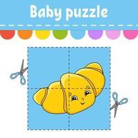 quebra-cabeça do bebê. nível fácil. cartões de memória flash. cortar e jogar. planilha de atividades de cores. jogo para crianças. Personagem de desenho animado. vetor
