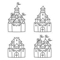 castelo de conto de fadas. página do livro para colorir para crianças. estilo de desenho animado. ilustração vetorial isolada no fundo branco. vetor