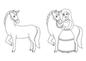 a princesa e o unicórnio. página do livro para colorir para crianças. personagem de estilo de desenho animado. ilustração vetorial isolada no fundo branco. vetor