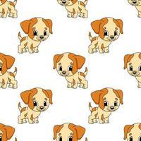 Cachorro feliz. padrão colorido sem costura com personagem de desenho animado bonito. ilustração em vetor plana simples isolada no fundo branco. criar papel de parede, tecido, papel de embrulho, capas, sites.