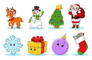 conjunto de personagens de desenhos animados bonitos de Natal. veado, boneco de neve, árvore, Papai Noel, floco de neve, presente, bugiganga, meia. feliz Ano Novo. adesivos de inverno. ilustração em vetor cor isolada no fundo branco.
