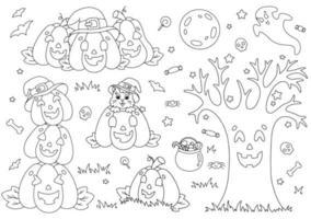 um conjunto de abóboras engraçadas, árvore, lua, gato. página do livro para colorir para crianças. tema de halloween. personagem de estilo de desenho animado. ilustração vetorial isolada no fundo branco. vetor