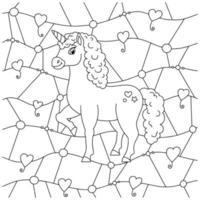 unicórnio de fada mágica. cavalo fofo. página do livro para colorir para crianças. padrão incomum. estilo de desenho animado. ilustração vetorial isolada no fundo branco. vetor