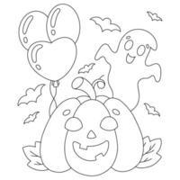 fantasma bonito e abóbora com balões. página do livro para colorir para crianças. personagem de estilo de desenho animado. ilustração vetorial isolada no fundo branco. tema de halloween. vetor