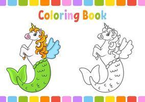 livro de colorir para crianças. bonito sereia unicórnio. Personagem de desenho animado. ilustração vetorial. página de fantasia para crianças. contorno preto. isolado no fundo branco. vetor