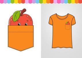 maçã no bolso da camisa. personagem fofinho. ilustração vetorial colorida. estilo de desenho animado. isolado no fundo branco. elemento de design. modelo para suas camisas, livros, adesivos, cartões, pôsteres. vetor