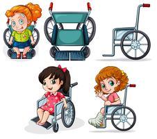 Cadeiras de rodas diferentes vetor