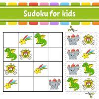 sudoku para crianças. tema de conto de fadas. planilha de desenvolvimento de educação. página de atividades com fotos. jogo de puzzle para crianças. ilustração isolada do vetor. personagem engraçado. estilo de desenho animado. vetor