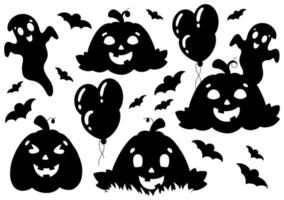 conjunto de elementos para abóboras de halloween, fantasmas, morcegos. silhueta negra. elemento de design. ilustração vetorial isolada no fundo branco. tema de halloween. vetor
