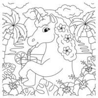 cavalo mágico de fadas. unicórnio está bebendo suco na praia. página do livro para colorir para crianças. personagem de estilo de desenho animado. ilustração vetorial isolada no fundo branco. vetor