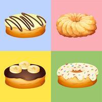 Quatro sabores de donuts vetor