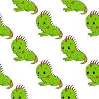 iguana feliz. padrão colorido sem costura com personagem de desenho animado bonito. ilustração em vetor plana simples isolada no fundo branco. criar papel de parede, tecido, papel de embrulho, capas, sites.