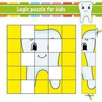 quebra-cabeça lógico para crianças. planilha de desenvolvimento educacional. jogo de aprendizagem para crianças. página de atividades. para criança. enigma para a pré-escola. ilustração em vetor plana simples simples no estilo bonito dos desenhos animados.