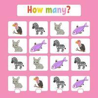 jogo de contagem para crianças em idade pré-escolar. aprender matemática. quantos animais na foto. com espaço para respostas. ilustração em vetor plana isolada simples no estilo bonito dos desenhos animados.